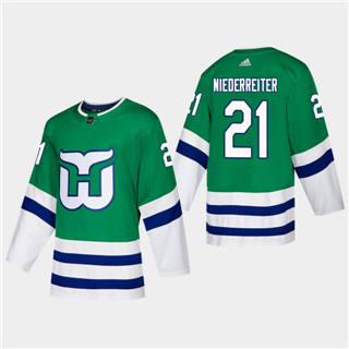 Men's Hartford Whalers #21 Nino Niederreiter 2019-20 Heritage Authentic Player Hockey Jersey Green