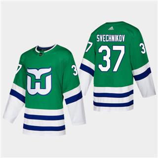 Men's Hartford Whalers #37 Andrei Svechnikov 2019-20 Heritage Authentic Player Hockey Jersey Green