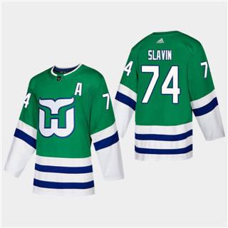 Men's Hartford Whalers #74 Jaccob Slavin 2019-20 Heritage Authentic Player Hockey Jersey Green