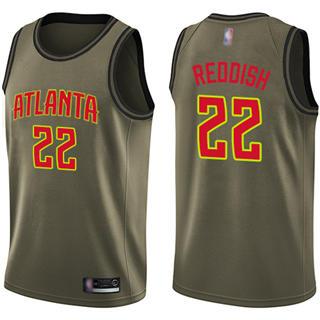 Men's Hawks #22 Cam Reddish Green Salute to Service Basketball Swingman Jersey