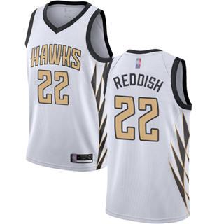 Men's Hawks #22 Cam Reddish White Basketball Swingman City Edition 2018-19 Jersey