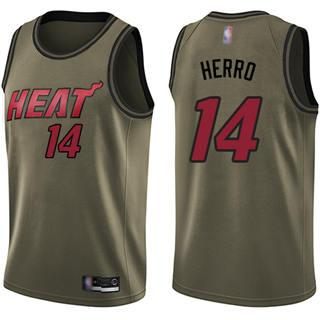 Men's Heat #14 Tyler Herro Green Basketball Swingman Salute to Service Jersey