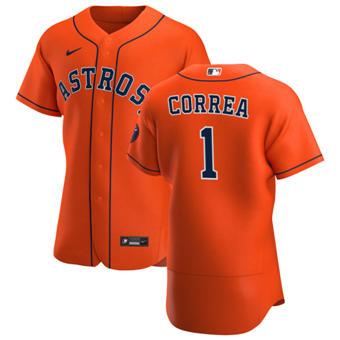 Men's Houston Astros #1 Carlos Correa Orange Alternate 2020 Authentic Team Baseball Jersey