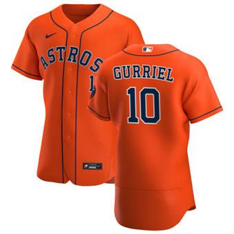 Men's Houston Astros #10 Yuli Gurriel Orange Alternate 2020 Authentic Team Baseball Jersey