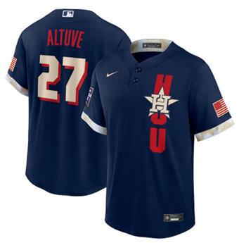 Men's Houston Astros #27 Jose Altuve 2021 Navy All-Star Cool Base Stitched Baseball Jersey