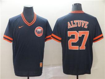 Men's Houston Astros #27 Jose Altuve Navy Throwback Stitched Baseball Jersey