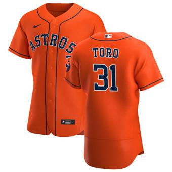 Men's Houston Astros #31 Abraham Toro Orange Alternate 2020 Authentic Team Baseball Jersey