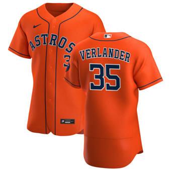 Men's Houston Astros #35 Justin Verlander Orange Alternate 2020 Authentic Team Baseball Jersey