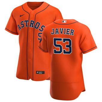 Men's Houston Astros #53 Cristian Javier Orange Alternate 2020 Authentic Team Baseball Jersey