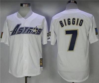 Men's Houston Astros #7 Craig Biggio White Cool Base Stitched Baseball Jersey