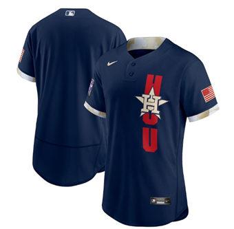 Men's Houston Astros Blank 2021 Navy All-Star Flex Base Stitched Baseball Jersey