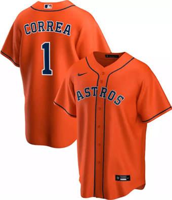 Men's Houston Astros Orange #1 Carlos Correa Orange Cool Base Stitched Baseball Jersey