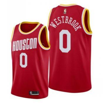 Men's Houston Houston Rockets #0 Russell Westbrook 2019-20 Red Hardwood Classics Jersey