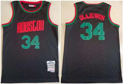 Men's Houston Rockets #34 Hakeem Olajuwon Black 1993-94 Throwback Stitched Basketball Jersey