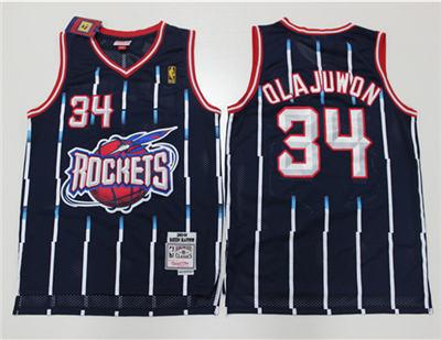 Men's Houston Rockets #34 Hakeem Olajuwon Black Hardwood Classics Stitched Basketball Jersey