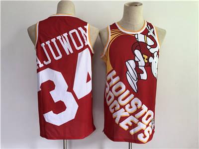 Men's Houston Rockets #34 Hakeem Olajuwon Red Big Face Throwback Stitched Basketball Jersey
