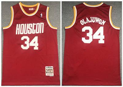 Men's Houston Rockets #34 Hakeem Olajuwon Red Throwback Stitched Basketball Jersey