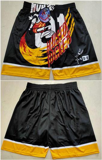 Men's Houston Rockets Black Mitchell&Ness Basketball Shorts (Run Small)