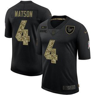 Men's Houston Texans #4 Deshaun Watson 2020 Salute To Service Black Camo Limited Football Jersey