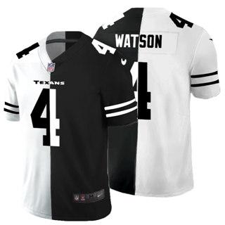 Men's Houston Texans #4 Deshaun Watson Black V White Peace Split Vapor Untouchable Limited Football Jersey