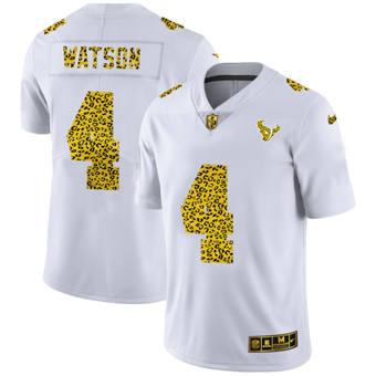 Men's Houston Texans #4 Deshaun Watson Flocked Leopard Print Vapor Limited Football Jersey White