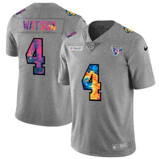Men's Houston Texans #4 Deshaun Watson Multi-Color Greyheather 2020 Crucial Catch Football Jersey