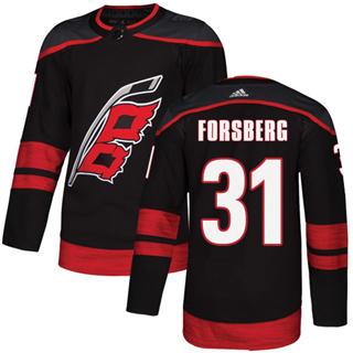 Men's Hurricanes #31 Anton Forsberg Black Alternate Authentic Stitched Hockey Jersey