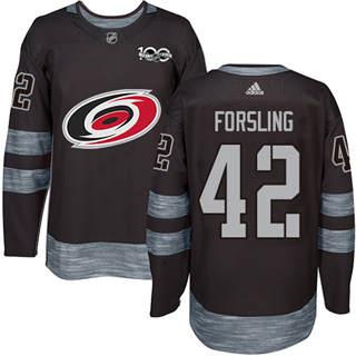 Men's Hurricanes #42 Gustav Forsling Black 1917-2017 100th Anniversary Stitched Hockey Jersey