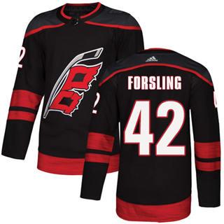Men's Hurricanes #42 Gustav Forsling Black Alternate Authentic Stitched Hockey Jersey