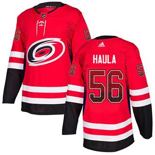 Men's Hurricanes #56 Erik Haula Red Home Authentic Drift Fashion Stitched Hockey Jersey