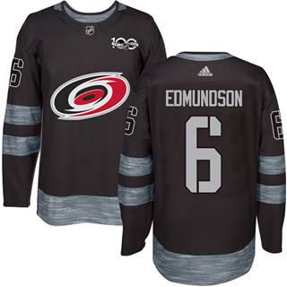 Men's Hurricanes #6 Joel Edmundson Black 1917-2017 100th Anniversary Stitched Hockey Jersey
