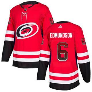 Men's Hurricanes #6 Joel Edmundson Red Home Authentic Drift Fashion Stitched Hockey Jersey