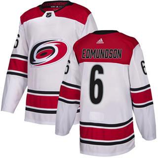 Men's Hurricanes #6 Joel Edmundson White Road Authentic Stitched Hockey Jersey
