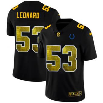 Men's Indianapolis Colts #53 Darius Leonard Black Golden Sequin Vapor Limited Football Jersey