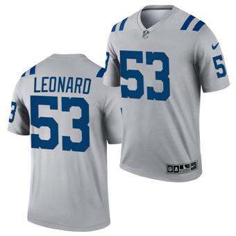 Men's Indianapolis Colts #53 Darius Leonard Gray Inverted Legend Stitched Jersey