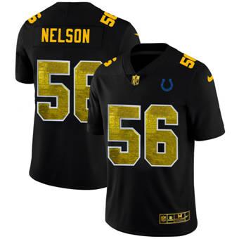 Men's Indianapolis Colts #56 Quenton Nelson Black Golden Sequin Vapor Limited Football Jersey