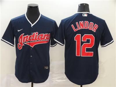 Men's Indians #12 Francisco Lindor Navy 2020 Baseball Cool Base Jersey