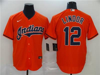 Men's Indians #12 Francisco Lindor Red 2020 Baseball Cool Base Jersey