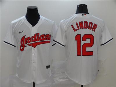 Men's Indians #12 Francisco Lindor White 2020 Baseball Cool Base Jersey