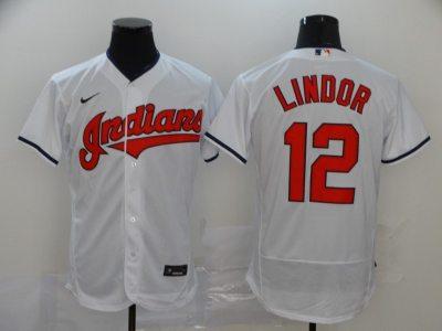 Men's Indians #12 Francisco Lindor White 2020 Baseball Flexbase Jersey