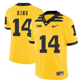 Men's Iowa Hawkeyes #14 Desmond King Yellow 2019 College Football Jersey