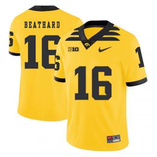 Men's Iowa Hawkeyes #16 C.J. Beathard Yellow 2019 College Football Jersey