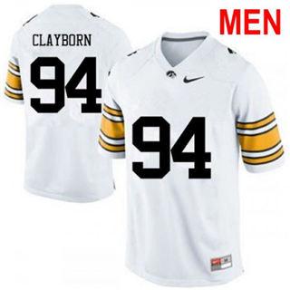 Men's Iowa Hawkeyes #94 Adrian Clayborn White 2019 College Football Jersey