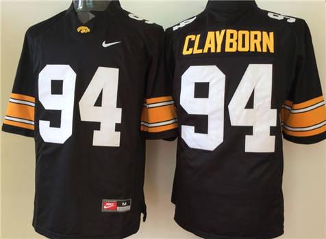 Men's Iowa Hawkeyes Black #94 CLAYBORN Stitched College Football Jersey