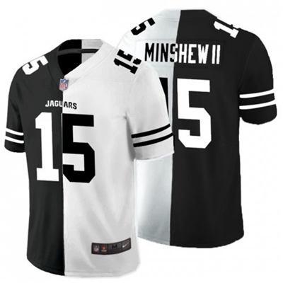 Men's Jacksonville Jaguars #15 Gardner Minshew II Black White Split 2020 Stitched Football Limited Jersey