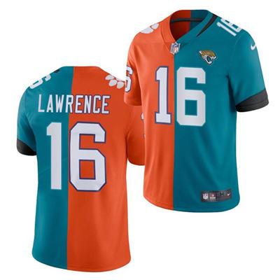 Men's Jacksonville Jaguars #16 Trevor Lawrence 2021 Teal Orange Draft Split Vapor Limited Stitched Football Jersey