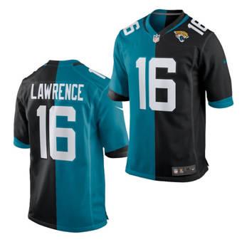 Men's Jacksonville Jaguars #16 Trevor Lawrence Teal & Black 2021 Football Draft Split Game Jersey