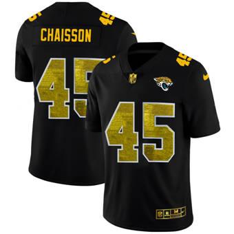 Men's Jacksonville Jaguars #45 K'Lavon Chaisson Black Golden Sequin Vapor Limited Football Jersey