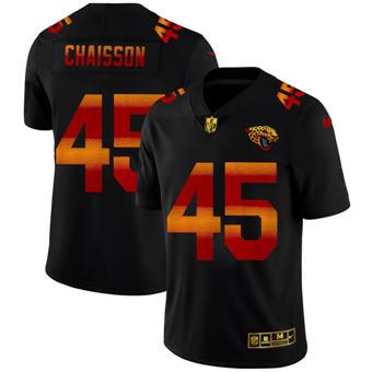 Men's Jacksonville Jaguars #45 K'Lavon Chaisson Black Red Orange Stripe Vapor Limited Football Jersey