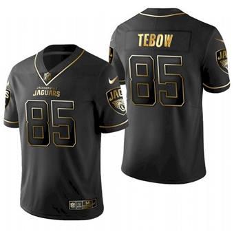 Men's Jacksonville Jaguars #85 Tim Tebow 2021 Black Golden Edition Stitched Jersey